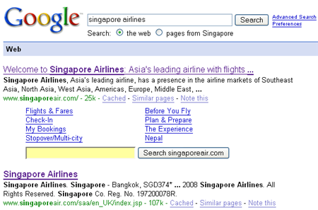 google search on singapore airlines