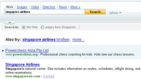 yahoo search result on singapore airlines