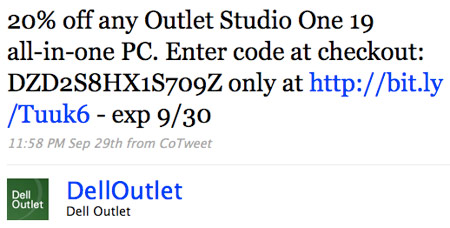 Promotional Tweet from @DellOutlet