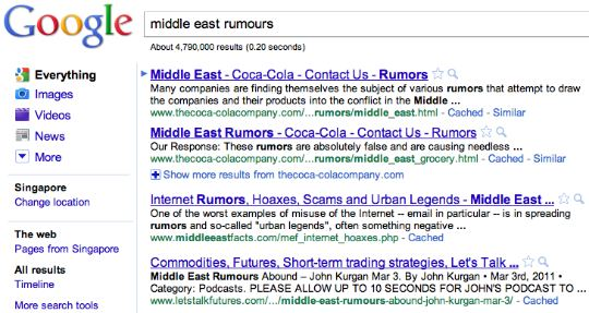 middle east rumors coca cola