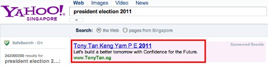 Tony Tan's Sponsored Search Listing on Yahoo